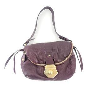 Furla Burgundy Pebbled Leather Zip Shoulder Bag